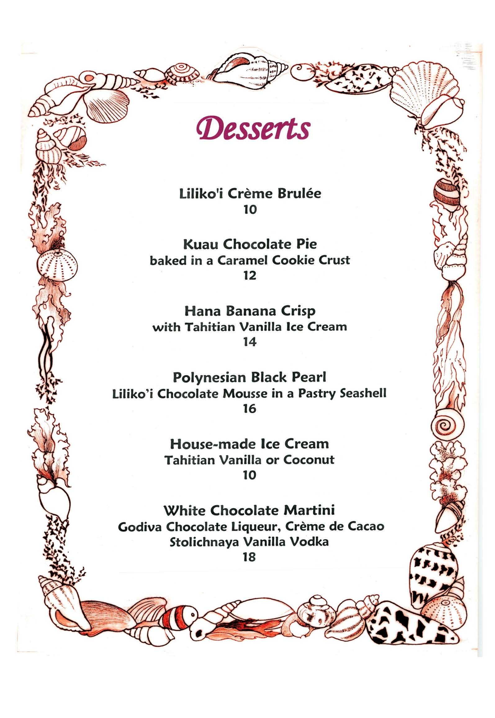 Mamas Fish House Dessert Menu