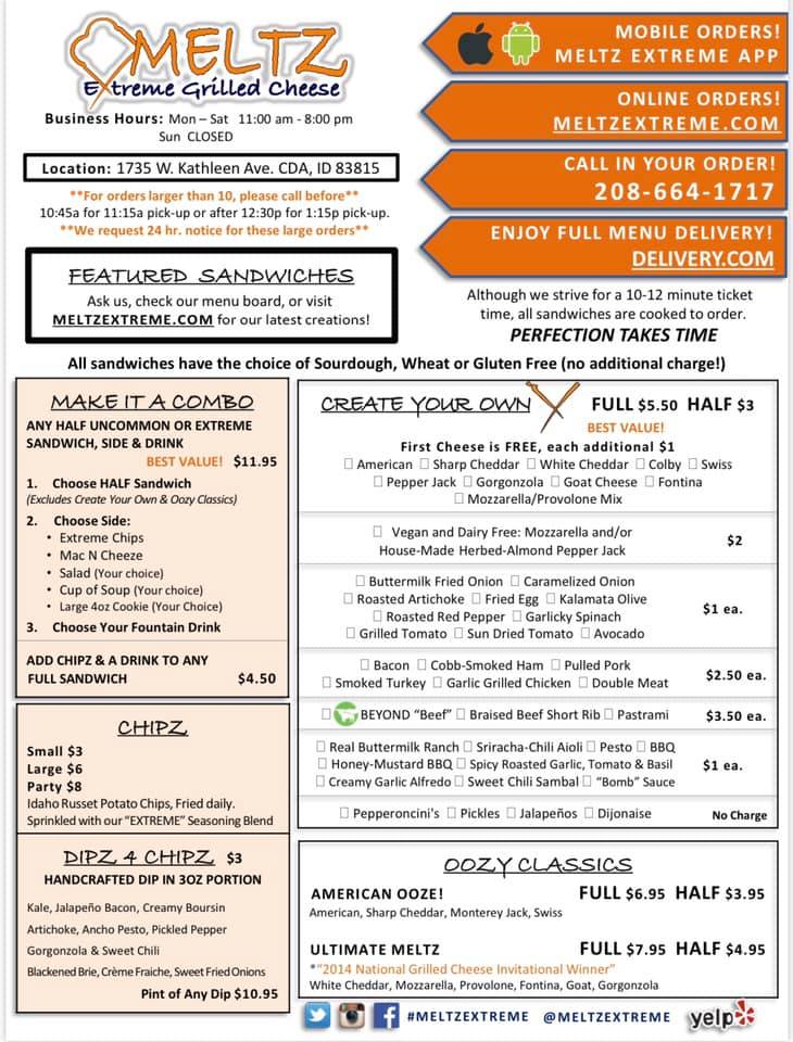 Meltz Extreme Grilled Cheese Lunch Menu