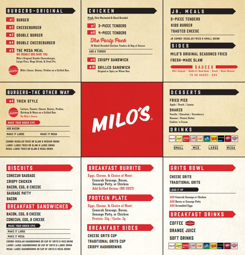 Milo's Hamburgers General Menu