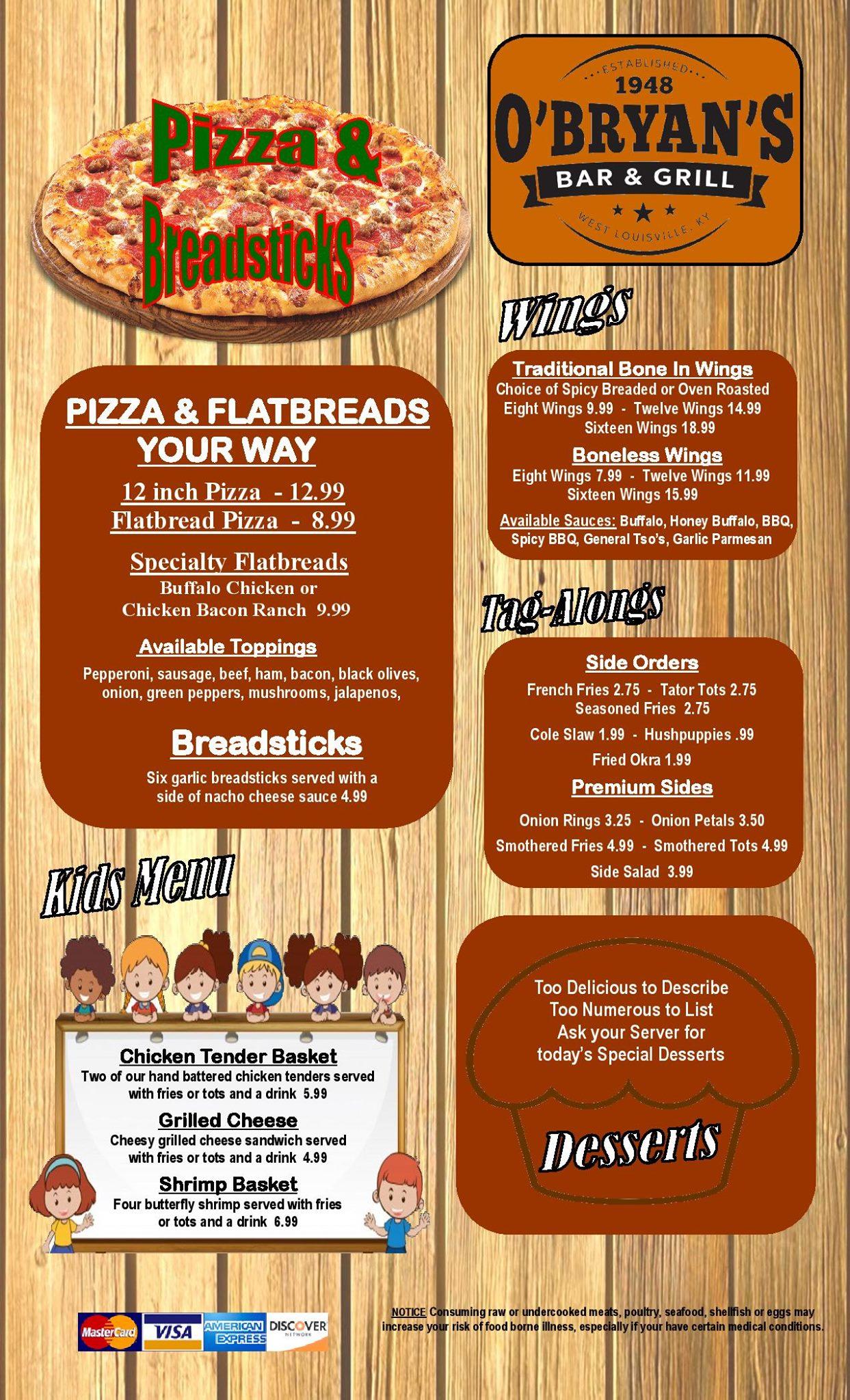 Obryans Bar And Grill General Menu