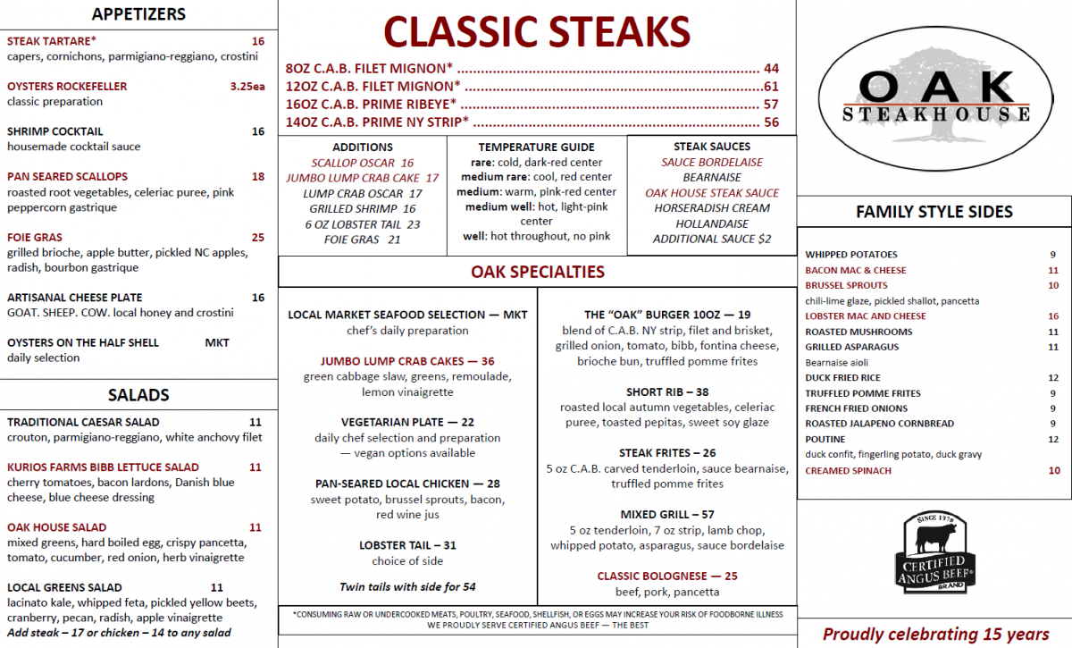 Oak Steakhouse General Menu