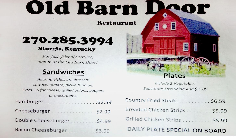 Old Barn Door Restaurant General Menu
