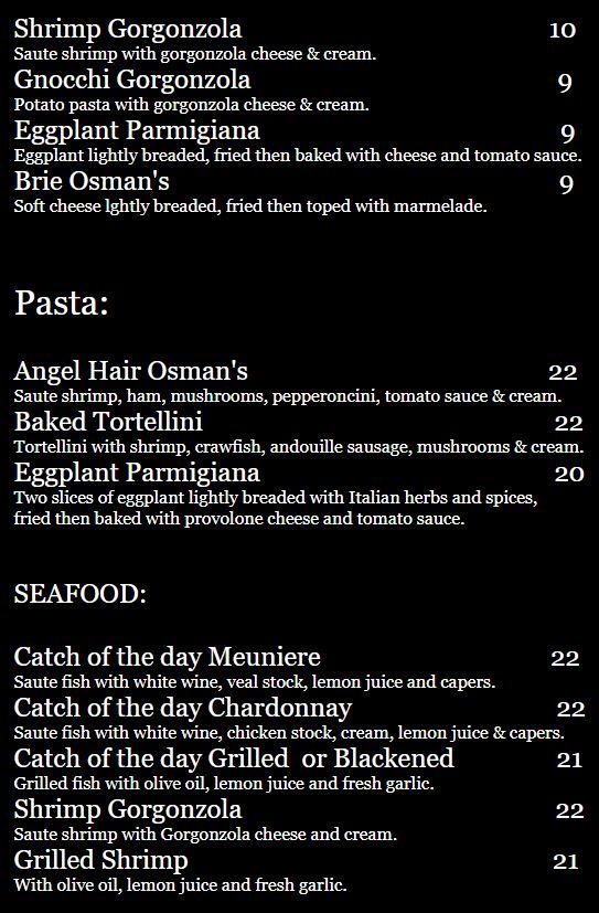 Osmans Restaurant General Menu