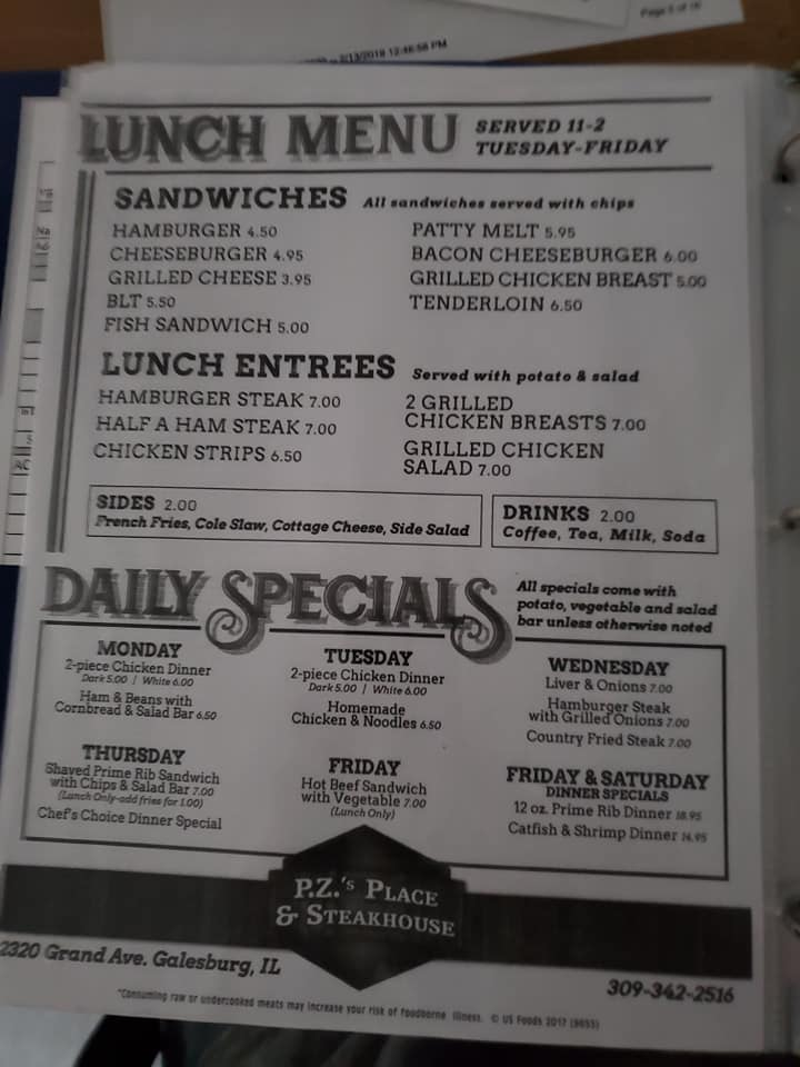 Pzs Place And Steakhouse General Menu