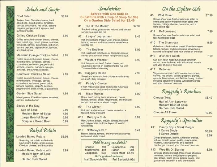 Raggedys Cafe General Menu
