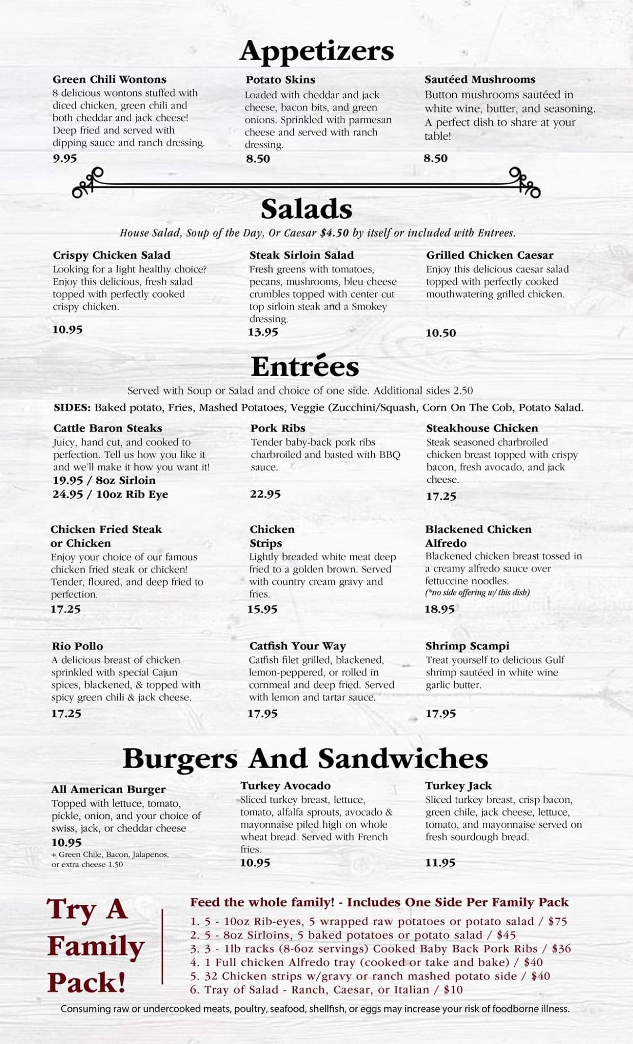 Roswell Cattle Baron Steak And Seafood General Menu