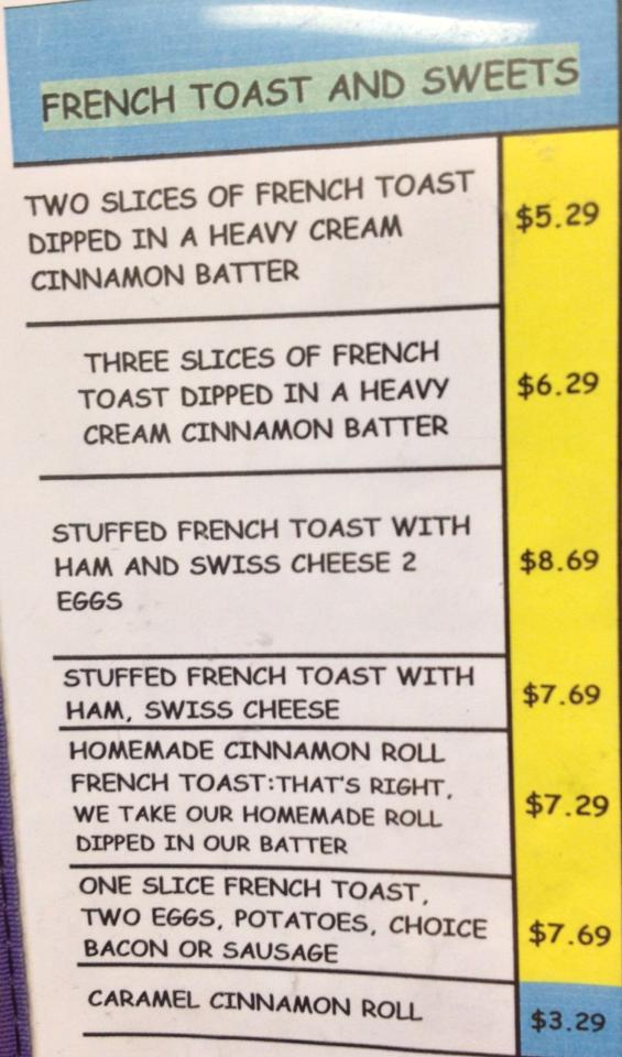 Sherries Place Breakfest Menu