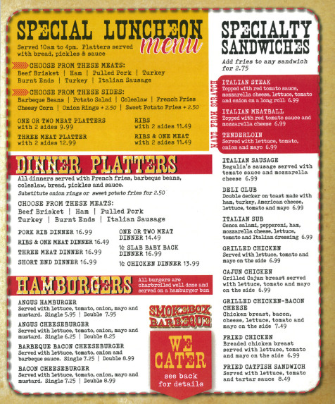 Smokebox Bbq General Menu