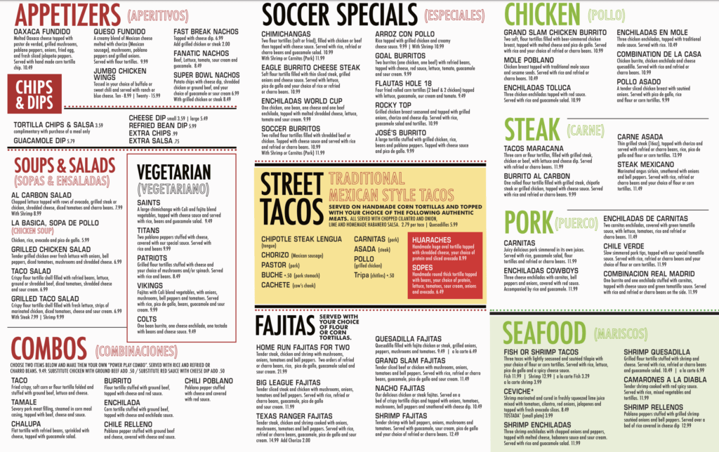 Soccer Taco Market Square General Menu