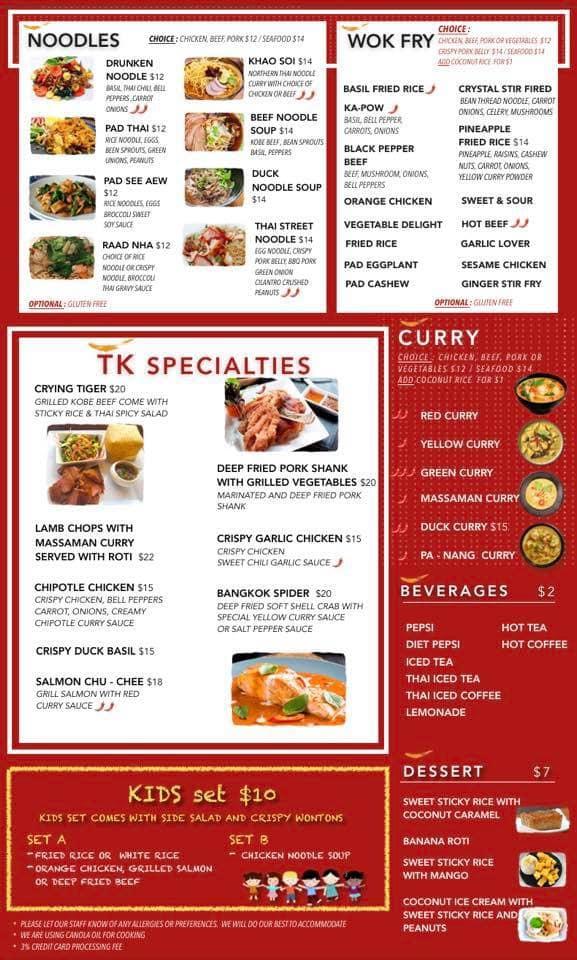 Thai Kitchen Of Casper General Menu