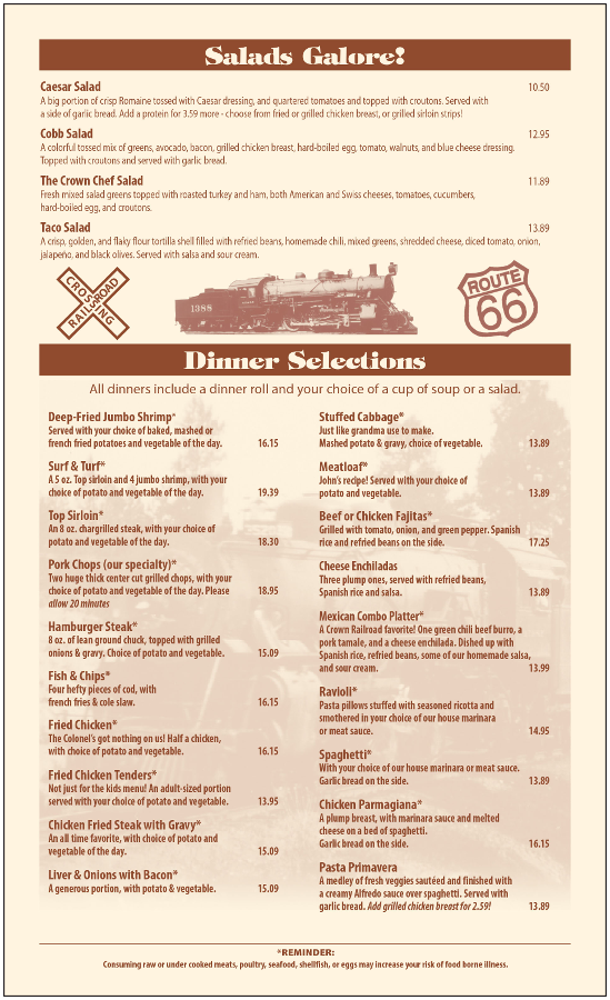 The Crown Railroad Cafe General Menu