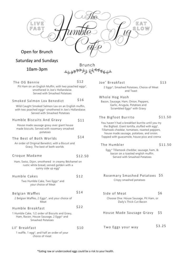 The Humble Pig Cafe General Menu