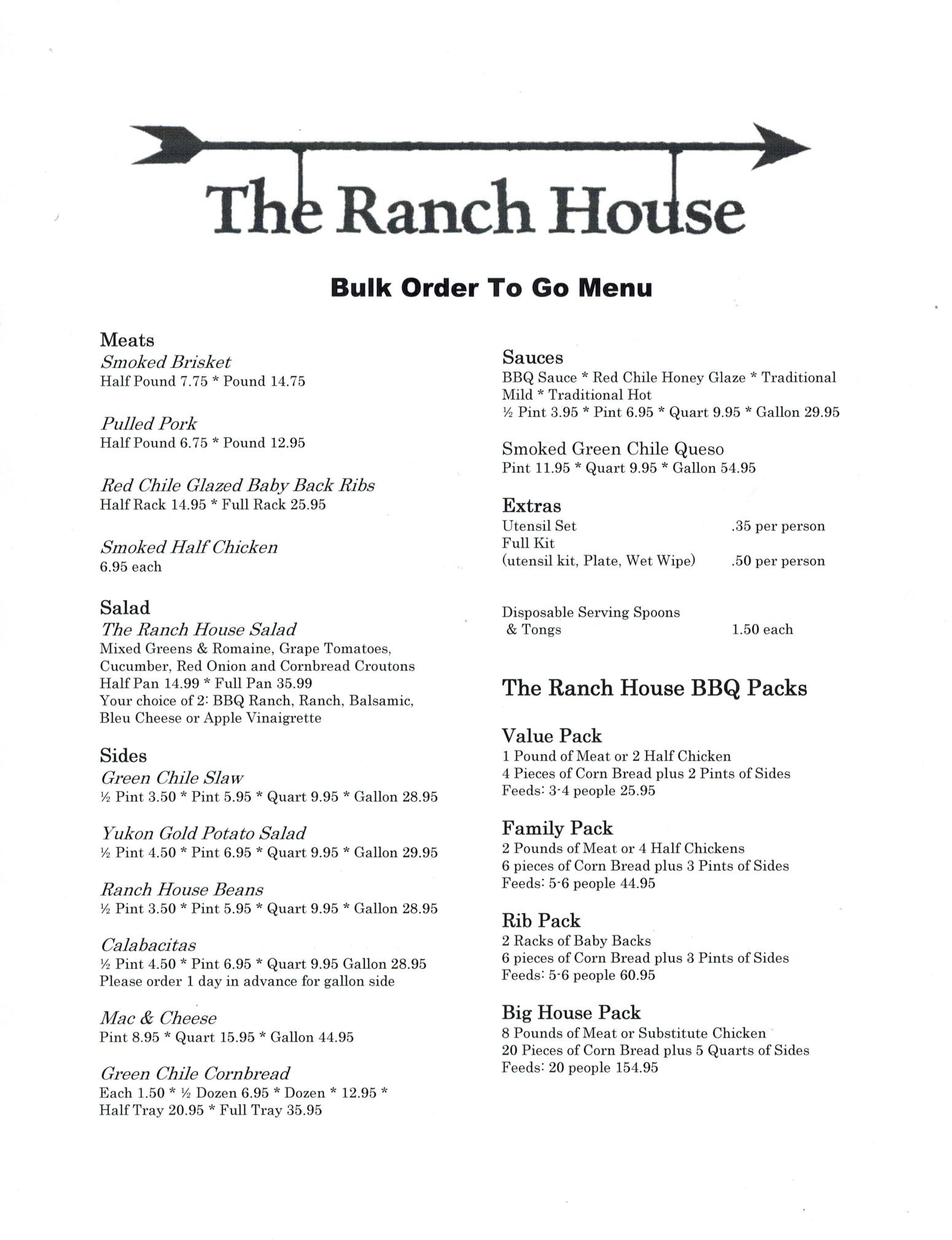 The Ranch House General Menu