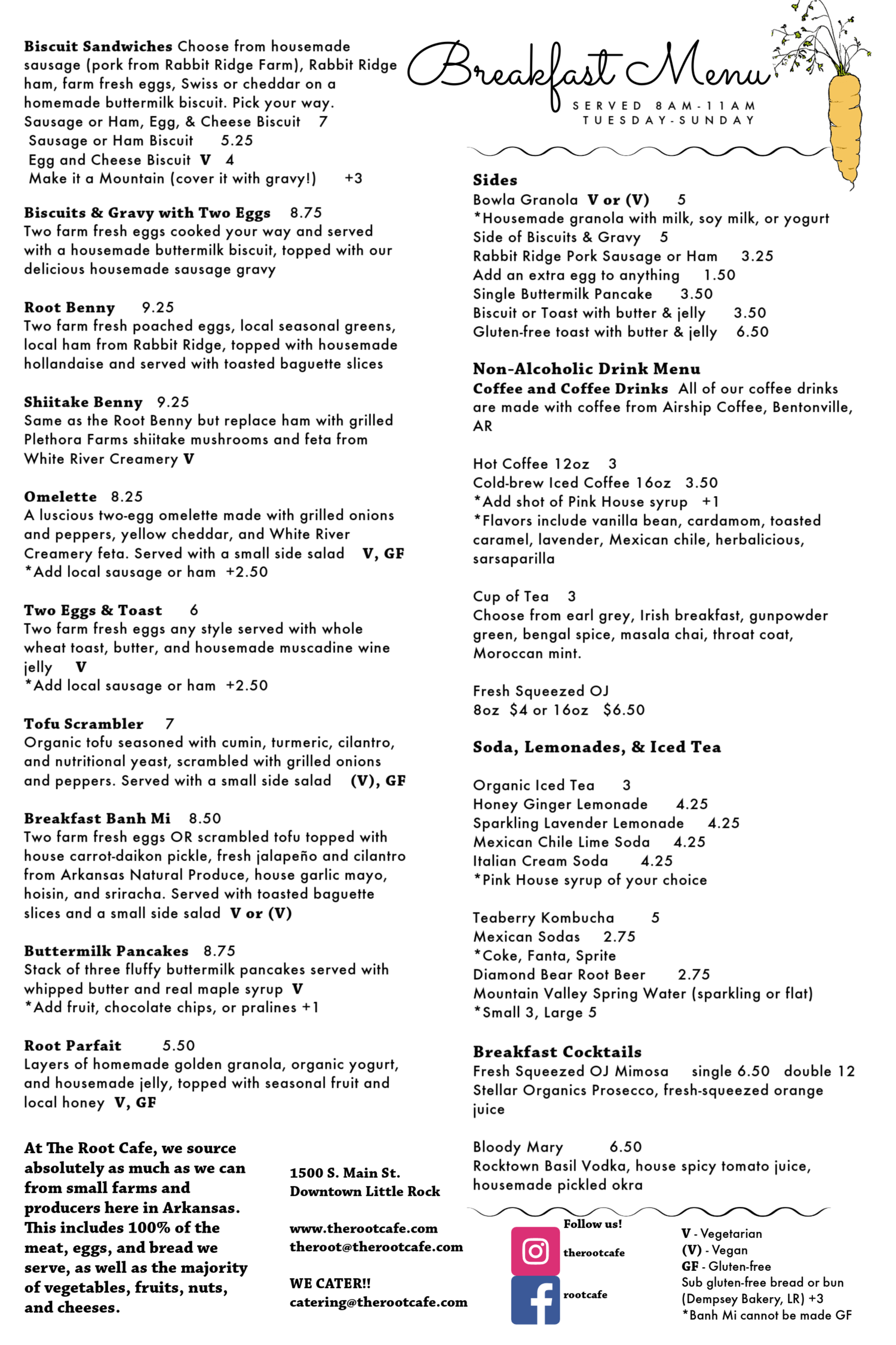 The Root Cafe General Menu