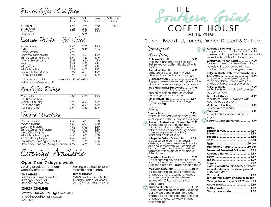 The Southern Grind Coffee House General Menu