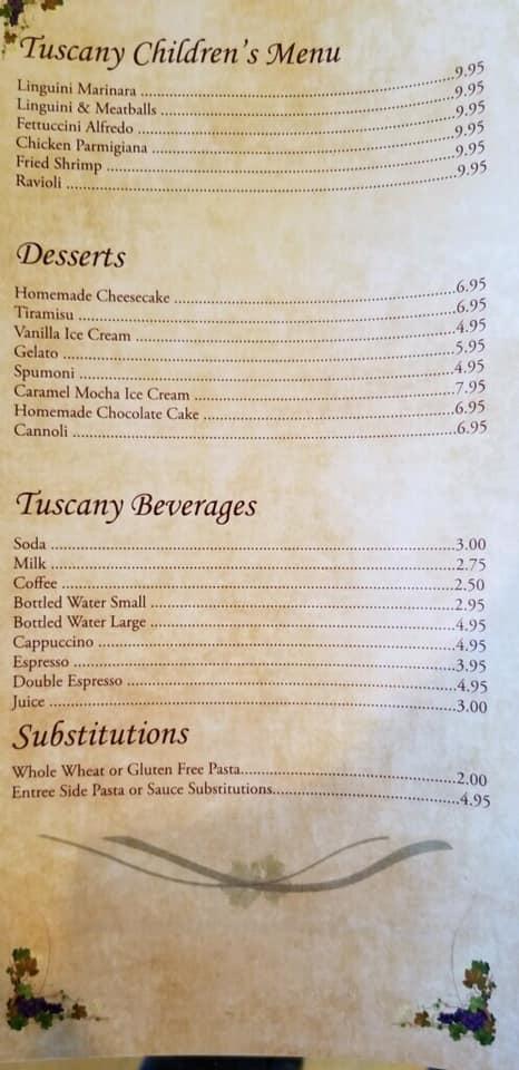 Tuscany Grill General Menu