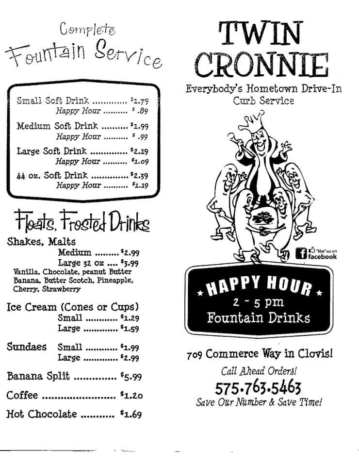 Twin Cronnie Drive In General Menu