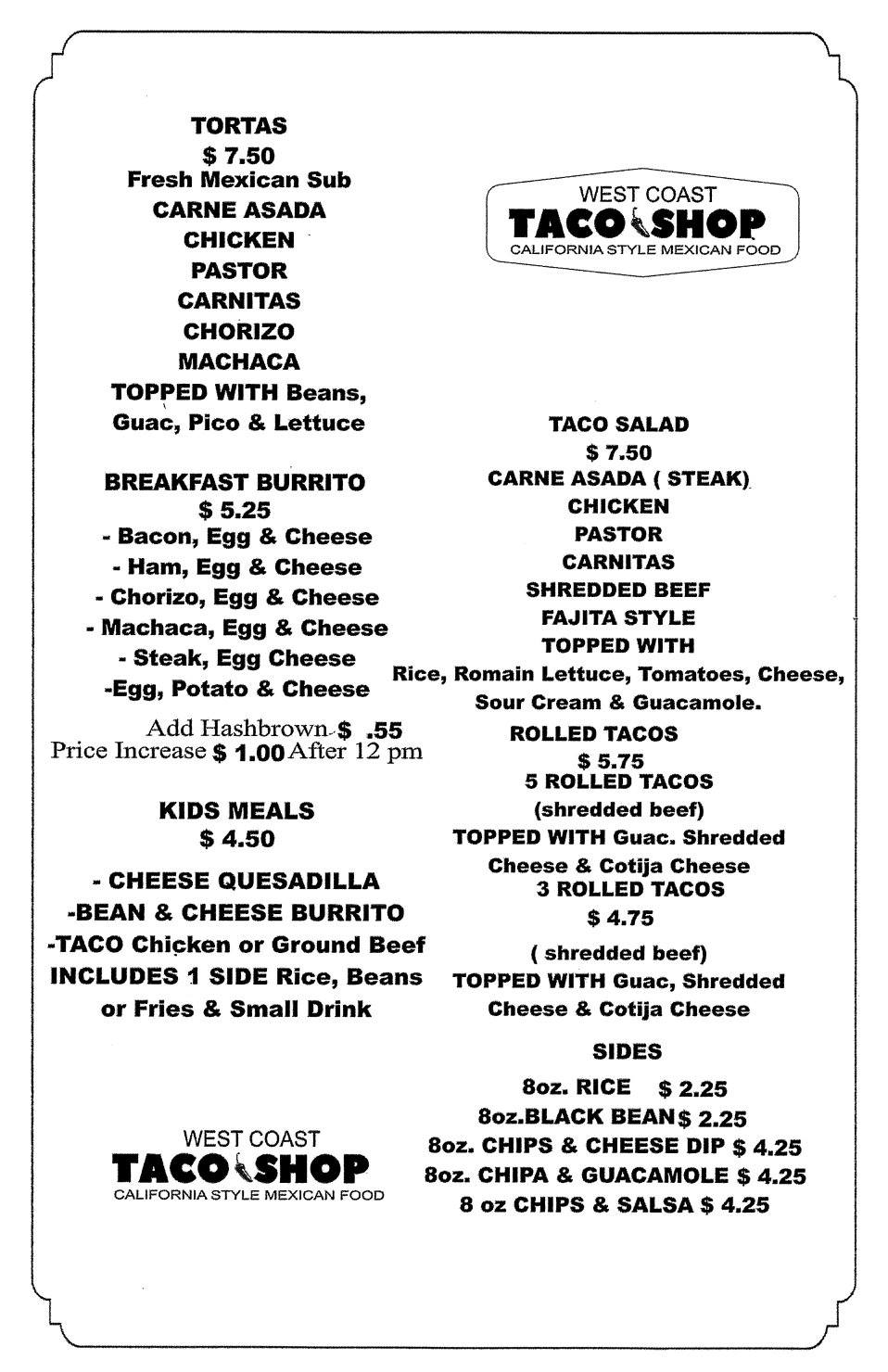 West Coast Taco Shop General Menu